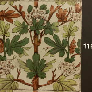 Victorian transfer hand painted floral tiles
