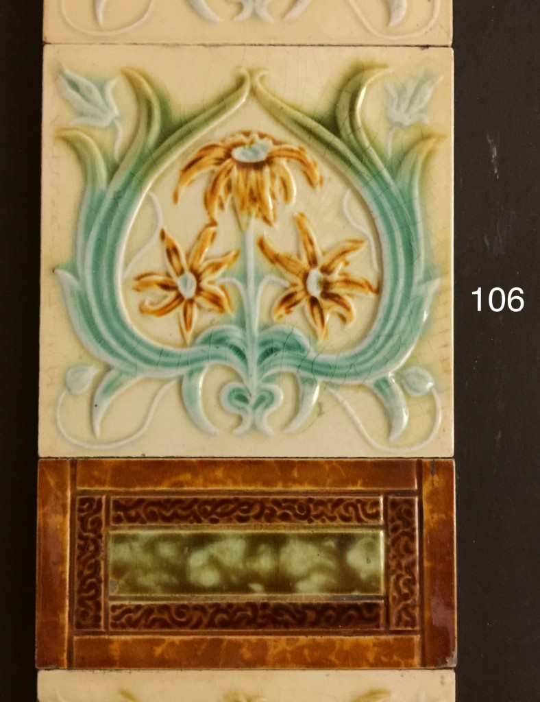 Majolica Art Nouveau Tiles Fireplace Restoration