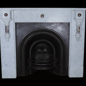 A late Victorian early Edwardian living room marble surround