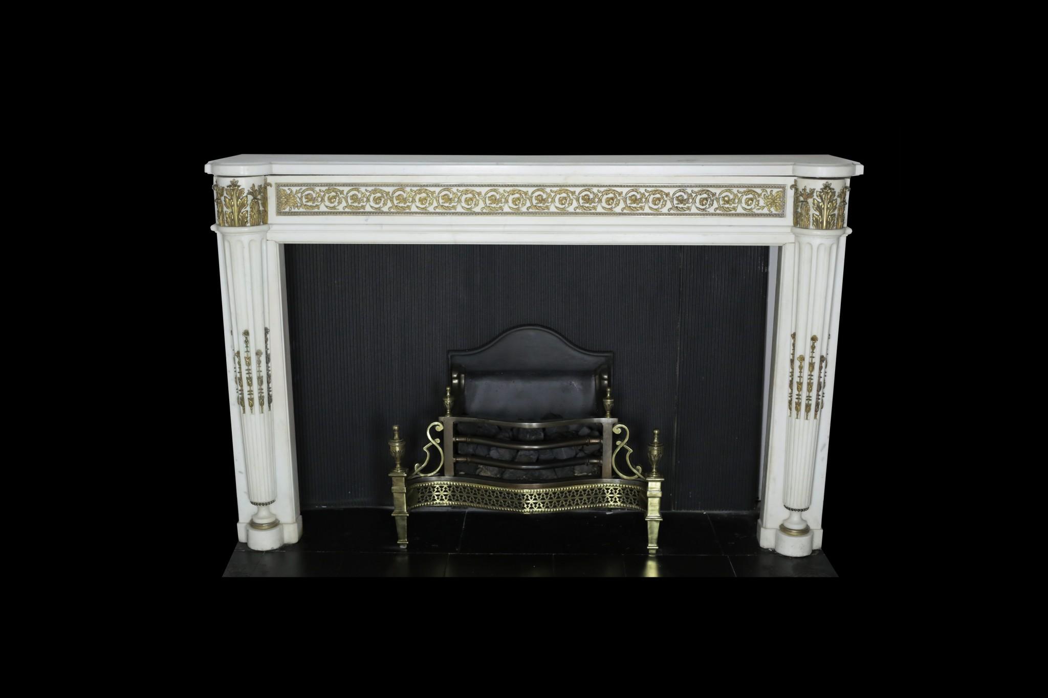 Statuary-Marble-Fireplace-Ormolu Louis-XVI